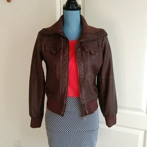 Active USA Collection Faux Brown Leather Jacket